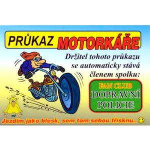 Cedulka Průkaz motorkáře