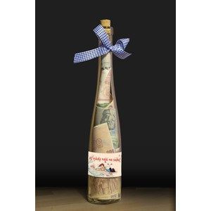 Láhev s bankovkami-Ať nikdy nejsi na suchu