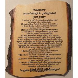 Žertovná tabulka nástěnná Desatero Manželské přikázání pro pány