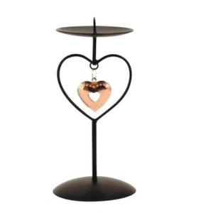 Svícen s bronzovým srdcem 18cm - kov
