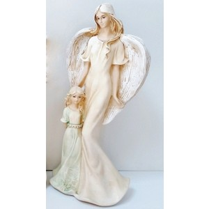 Anděl s holčičkou zelené šaty-béžový,35cm,polystone