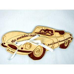 Dřevěné auto s kapsičkou na peníze - svatební (velké)