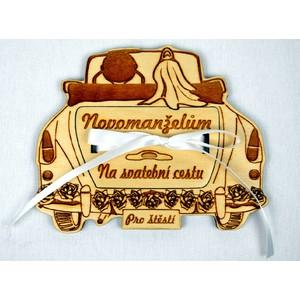 Dřevěné auto s kapsičkou na peníze - svatební (malé)