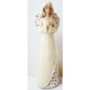 Anděl béžový kytky dole 32cm,polystone