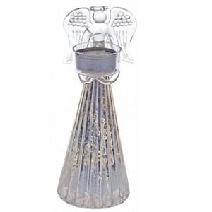Anděl se svícnem v rukách- stříbrný,24cm,sklo