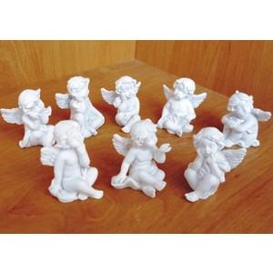 Anděl posílá pusu - bílý,3,5cm, polystone