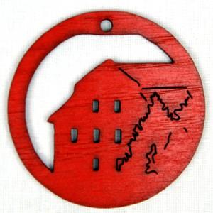 Ozdoba Radnice v kruhu červená