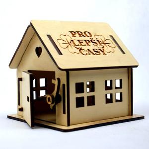 """Dřevěná gravírovaná pokladnička- chaloupka s nápisem """" Pro lepší časy"""""""
