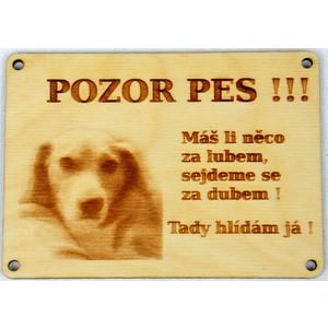 Dřevěný gravírovaný obrázek malý labrador-Pozor pes,máš-li něco za lubem