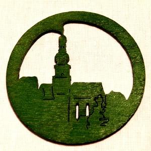 Ozdoba Kostel v kruhu zelený