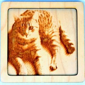 Dřevěný gravírovaný obrázek malý-kočka mouratá