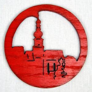 Ozdoba Kostel v kruhu červená
