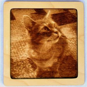 Dřevěný gravírovaný obrázek malý-kočka pohled do prava-poslední kus!