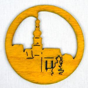 Ozdoba Kostel v kruhu žlutý