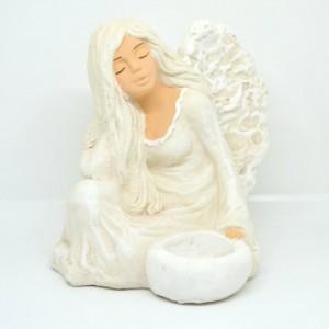 Anděl Funia svícen sedící , ruka pod hlavou