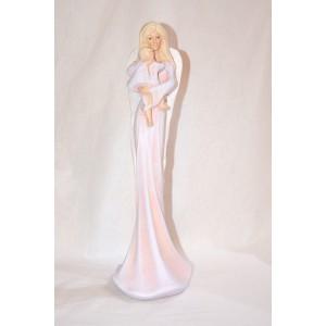 Anděl stojící s dítětem - růžový, 36 cm, polystone