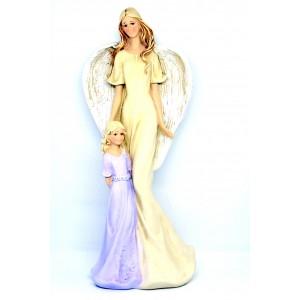 Anděl s holčičkou- fialové šaty,35cm,polyston