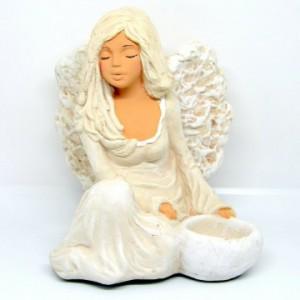 Anděl sádrový Floe se svíčkou u nohy