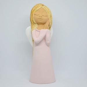Anděl žena Giga -růžový,29cm,polystone