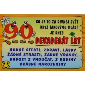 Cedulka 90 let