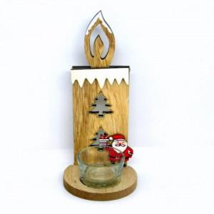 Dřevěný svícen na svíčku 19cm