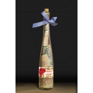 Láhev s bankovkami- Všechno nejlepší růže