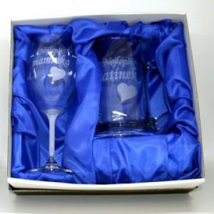 Půllitr pískovaný +sklenice na víno Tatínek / Maminka