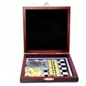 Šachy+dáma dřevěný box