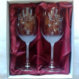 Sklenice pískované na víno -   Dětský anděl 0,3l