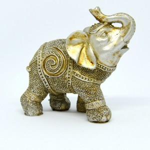 Slon stříbrný polyston-10cm
