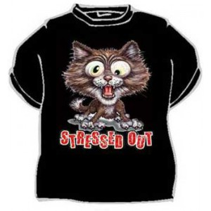 Triko Stress out kočka černá